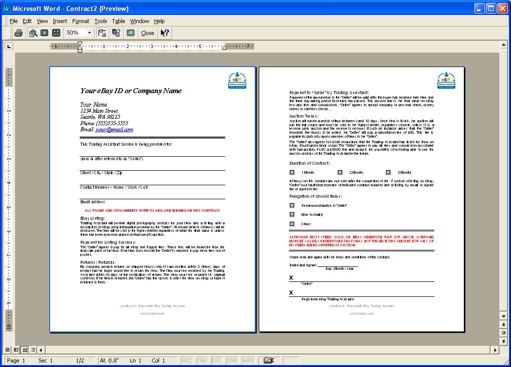 Tools For The Trading Assistant Forms Contract Kit Webdesign - Framing contract template